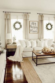 Looking for for inspiration for farmhouse living room? Browse around this site for very best farmhouse living room ideas. This amazing farmhouse living room ideas seems completely wonderful. Living Room Designs, Living Spaces, White Living Rooms, Ivory Living Room, Windows In Living Room, Cream And White Living Room, Living Area, Dark Wood Floors Living Room, Beautiful Living Rooms