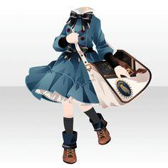 Robe bleu marine avec un gros ruban autour du coup et un sac en bandoulière