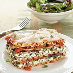 This spinach and mushroom lasagna is a delicious change of pace from traditional lasagna recipes. It is sure to become a family favorite.