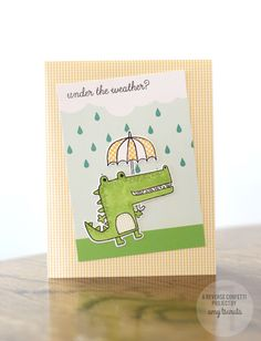 Card by Amy Tsuruta. Reverse Confetti stamp sets: Later Alligator and Weather It Together. Confetti Cuts: Later Alligator and Weather It together. Quick Card Panels: Weather or Dot (and stripes). Get well card. Friendship card.