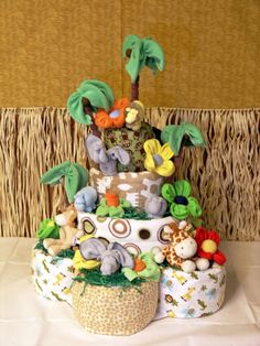 The Ultimate 4 Tier Safari Themed Diaper Cake for by babyblossomco, $375.00