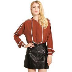 Women Fashion Temperament Hit Color Blusas Long Sleeve Striped Shirts Cotton O Neck Patchwork Tops Black OL Ladies Blouse S323