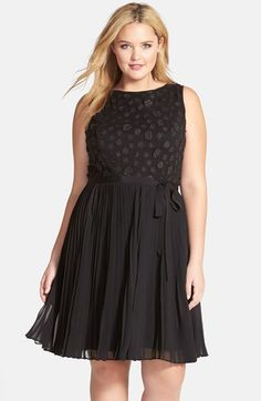Adrianna Papell Applique Fit & Flare Cocktail Dress (Plus Size)