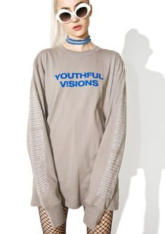 """Youth Machine Visions Long Sleeve Tee cuz yer a fukkin visionary, bb. This sik long sleeve tee features printed text on the sleeves that read """"youth machine,"""" a graphic on the back, and """"youthful visions"""" on yer chest."""