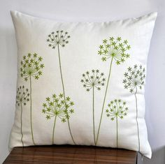 Green Pillow Cover Fresh Green Queen Ann Embroidery on by KainKain