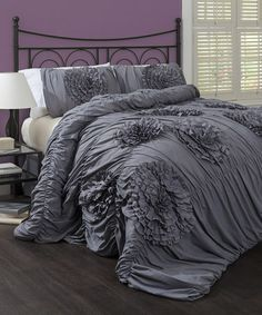 Take a look at this Gray Serena Comforter Set by Lush Décor on #zulily today!