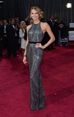Stacy Keibler wears Naeem Khan dress, Giuseppe Zanotti shoes and Lorraine Schwartz jewelry. Oscars, 2013.