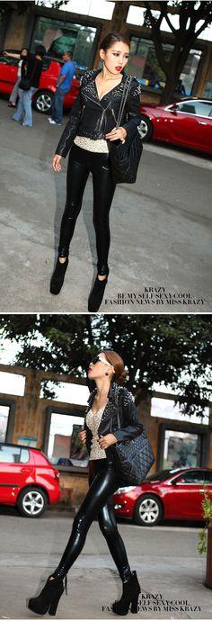 クレイジー春と夏のファッションnormicすべて 一致させるスリムヒップパンツレザーレギンス289革の特許