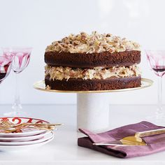 Actress Ali Larter's super-indulgent dessert features layers of light chocolate cake and a sweet coconut-pecan frosting. Decadent Chocolate Cake, German Chocolate, Just Desserts, Delicious Desserts, Dessert Recipes, Beginner Baking Recipes, American Desserts, Chewy Sugar Cookies, Ali Larter