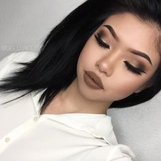 """Gigi Ng. on Instagram: """"Gloomy looking fall makeup, I like it I am using all @makeupgeekcosmetics eyeshadow pans in """"Latte"""" (crease) """"Corrupt"""" (outer crease) """"Cocoa Bear"""" (Transition) and """"Voltage"""" (mid-inner corner) with @tartecosmetics """"Black"""" clay paint liner! On my lips, I have on @colouredraine liquid lipstick on """"Suede"""" and brows are @anastasiabeverlyhills dipbrow pomade in """"Chocolate"""" YAS, I dyed my hair jet black."""