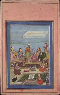"""""""Princess Entertaining a Visitor on the Balcony"""", Folio from the Davis Album Object Name: Illustrated album leaf Date: mid–second half 17th century Geography: India Culture: Islamic Medium: Ink, opaque watercolor, and gold on paper Dimensions: 13.12 in. high 8.25 in. wide (33.3 cm high 21 cm wide) Classification: Codices Credit Line: Theodore M. Davis Collection, Bequest of Theodore M. Davis, 1915 Accession Number: 30.95.174.22"""