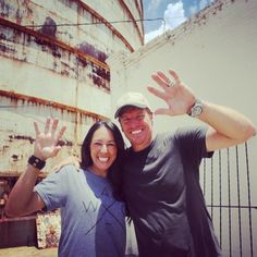 On the set with Chip and Joanna Gaines showing off their Baylor spirit! Love our building Bears!