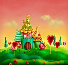 Illustration Enfant Other Vinyl Photography Backdrop Picture Backdrops, Vinyl Backdrops, Nail Art Cupcake, Candyland Board Game, Cartoon House, Candy House, Fabric Backdrop, Art Drawings For Kids, Candy Land