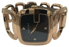 Gucci Watches - Shop designer fashion at Tradesy and save 70% off or more on fashion accessories. Gold G, Pink And Gold, Rose Gold, Gucci Watches For Men, Jewelry Clasps, Gucci Accessories, Vintage Gucci, Stainless Steel Case, Black Diamond