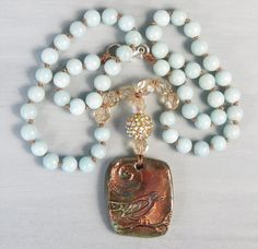 Amazonite knotted boho necklace with little bird raku pendant, bohemian, layering, blue, from MiaBellaJeweria