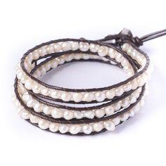81stgeneration Women's Simulated Pearl 5-6 mm Silver Tone 3 Line Wrap Friendship Bracelet, 51 - 56 cm - CONTINUE @ http://www.finejewelry4u.com/jewelry100/10520/?204