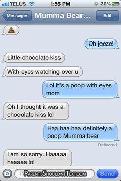 Mumma Bear Hershey Kiss Poop Emoticon Fail