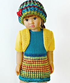 My First Dress - knitting pattern for 18 inch Kidz n Cats doll - pdf format - instant download - permission to sell