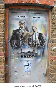Graffiti in Brick Lane depicting the Kray twins. Stock Photo