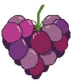 Items similar to Modern Cross Stitch Kit 'Heart Shaped Buunch of Grapes' Needlecraft kit on Etsy Cross Stitch Fruit, Cross Stitch Heart, Modern Cross Stitch, Embroidery Hearts, Cross Stitch Embroidery, Embroidery Patterns, Needlepoint, Heart Shapes, Needlework