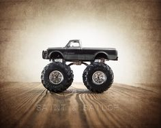 Vintage Monster Truck Grey and Black Cheyenne Wall Art by Saint and Sailor Studios Lifted Trucks, Big Trucks, Semi Trucks, Monster Trucks, Monster Jam, Playroom Decor, Wall Decor, Wall Art, Future Trucks