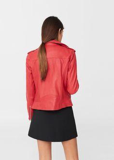 Leather biker jacket   MANGO