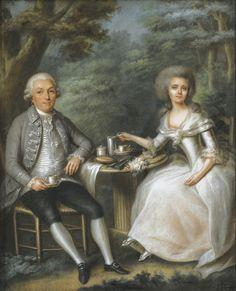 Joseph Boze - Portrait of a couple drinking coffee in a garden