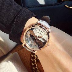 7 Colors New Style Quality Women Watches Luxury Rhinestone Wristwatch Lady Crystal Dress Watch Female Genuine Leather Band Watch