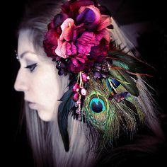 Ornate Hair Fascinator, tribal fusion hair flower, hair clip, fairy costume, bellydance, whimsical, feathers, purple peacock, headdress