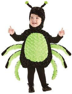 The itsy-bitsy spider climbed up the water spout. Down came the rain and washed the spider out. Spider Kid Costume - Kids Halloween Costume includes a black plush bodysuit with light. Toddler Spider Costume, Spider Halloween Costume, Bug Costume, Toddler Halloween Costumes, Halloween Fancy Dress, Costume Shop, Halloween Kostüm, Baby Costumes, Spirit Halloween