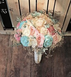 Romantic Wedding Bouquet Pink and Mint by CuriousFloral, sola flower bridal bouquet ivory cream blush pink aqua $150.00