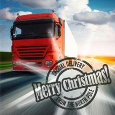 Kerstkaart met vrachtwagen op de weg. Zit u in de branche vervoer en transport, dan is dit de kaart voor u om uw klanten mooie kerstdagen en succesvol nieuwjaar te wensen.