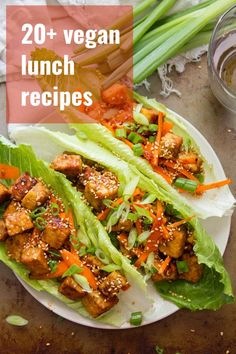 Say goodbye to boring lunches! This collection of over 20 vegan lunch recipes includes everything from sandwiches to salads to meal-worthy soups and stews. Every dish can be made in minutes or easily packed up! #veganrecipes #lunchrecipes #veganlunch Vegan Lunch Recipes, Veg Recipes, Delicious Vegan Recipes, Cooking Recipes, Healthy Recipes, Vegan Dinners, Tempeh, Vegetarian Lettuce Wraps, Lettuce Recipes