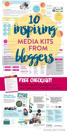 Media Kit examples from bloggers who used flexible, professional media kit templates. Get media kit ideas from 10 bloggers plus a FREE media kit checklist!