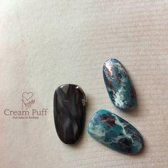 大理石/ブルー/グレー - CreamPuffのネイルデザイン[No.2689395]|ネイルブック