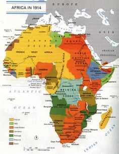 Africa at the dawn of World War I, This map shows how the continent of Africa was divided by other so called civilized nations. French West Africa, Les Continents, Old Maps, Antique Maps, Vintage Maps, World War One, Interesting History, African American History, British History