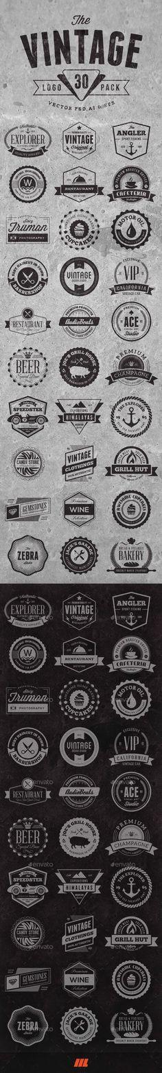 30 Vintage Logo Badges   Download…