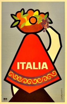 Italia #tourism #poster by Gnagnatti (1950s) AntikBar
