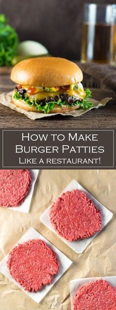 How to Make Burger Patties Like a Restaurant via /foxvalleyfoodie/ Loading. How to Make Burger Patties Like a Restaurant via /foxvalleyfoodie/ Homemade Burger Patties, Making Burger Patties, Homemade Hamburgers, Hamburger Patties Recipe, Beef Burger Patty Recipe, Best Homemade Burgers, Easy Burger Recipes, Gastronomia, Sandwich Recipes