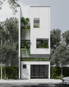 N-House Danang designed by Truong Quang Vinh - VBMAD. Visualization by Duy Huynh. Flat House Design, Narrow House Designs, Minimal House Design, Minimalist Architecture, Modern Architecture House, Facade Architecture, Amazing Architecture, Architecture Diagrams, Architecture Portfolio