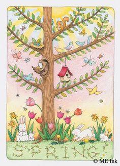 Spring tree 2 By Mary Engelbreit Mary Engelbreit, Happy Spring, Hello Spring, Illustrations, Illustration Art, Creation Photo, Spring Tree, Spring Has Sprung, Beautiful Birds