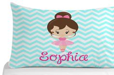 Ballerina Pillow Case, Chevron Pattern, Pillow Cover, Kids Bedroom Decor, Dance Theme, Personalized Pillowcase by 5MonkeysDesigns on Etsy Kids Bedroom, Bedroom Decor, Dance Themes, Personalized Pillow Cases, Ballerina, Chevron, Pillow Covers, Hello Kitty, Birthday Gifts