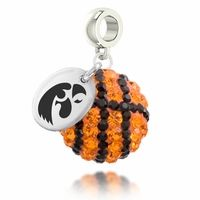 Iowa Hawkeyes Crystal Basketball Drop Charm made in solid sterling silver with genuine Swarovski Crystal. Iowa Hawkeyes charms can be worn on all beaded charm bracelet brands including Pandora, Chamilia, Troll, Brighton and more.