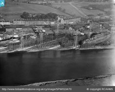 Barclay, Curle and Co. Ltd. shipyards, West Yard, Scotstoun West, Glasgow. Oblique aerial photograph taken facing north-east. Image reference SPW019470 Date 6th October 1927   http://www.britainfromabove.org.uk/image/spw019470