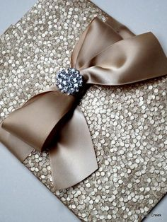 Sale - Elegant wedding Invitation with Navy metallic paper, rhinestone brooch and satin bow for the bride and groom for their wedding. Description from pinterest.com. I searched for this on bing.com/images