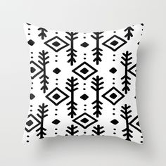 NORDIC Throw Pillow #nordic #pattern #pillow #monochrome #black #white #abstract