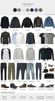 Basic men's style menswear basic wardrobe capsule seasonless lasting style is part of Mens fashion edgy - Capsule Wardrobe Men, Mens Wardrobe Essentials, Men's Wardrobe, Wardrobe Basics, Wardrobe Design, Professional Wardrobe, Summer Wardrobe, Wardrobe Staples, Mens Style Guide