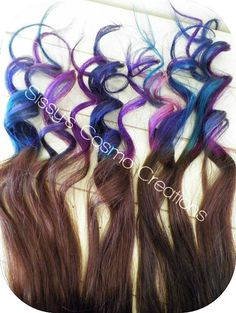 "Brown Hair with Purple Tips | "" Purple Pink Teal Indigo Blue Brown Ombre Dip Dye Clip In Human Hair ..."