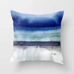 "Art, Artsy Abstract Pillow, blue, teal, grey, ""Introspection 1"" Original abstract watercolor painting Kathy Morton Stanion  EBSQ"