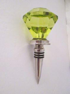 Wine Bottle Stopper Diamond Shape Chartreuse Stainless Steel 5.25 Inches High   #Unbranded